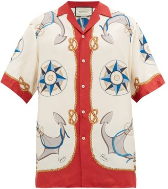 Gucci Compass And Anchor-print Silk-satin Shirt - White Multi
