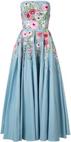 Marchesa floral embroidered dress - women - Cotton/Nylon - 14