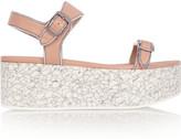 Stella McCartney Metallic-trimmed faux leather platform sandals