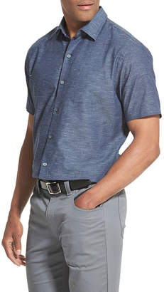 Van Heusen Air Textured Mens Short Sleeve Moisture Wicking Button-Front Shirt