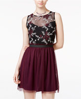 Speechless Juniors' Contrast Lace Tulle Dress