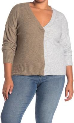 Sweet Romeo Colorblock V-Neck Sweater