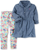 Carter's 2-Pc. Chambray Tunic & Floral-Print Leggings Set, Little Girls (2-6X)