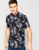 Asos Shirt With Palm Print In Black With Short Sleeves In Regular Fit