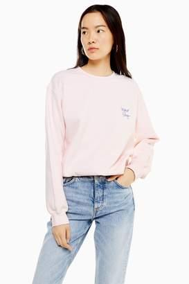 Topshop Womens Bonjour Baby Sweatshirt - Pink