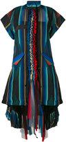 Sacai striped pleat detail shirt dress