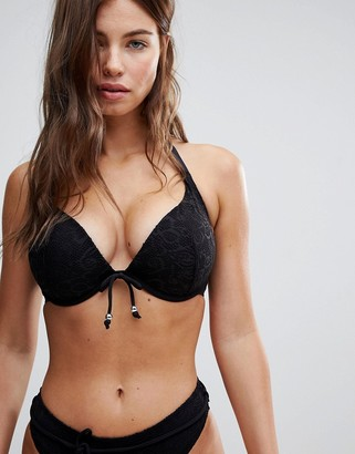Pour Moi? Pour Moi Crochet Boost Padded Plunge Underwired Bikini Top B-F Cup-Black