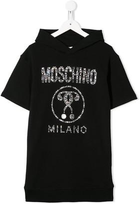 MOSCHINO BAMBINO Embellished Logo Sweater Dress