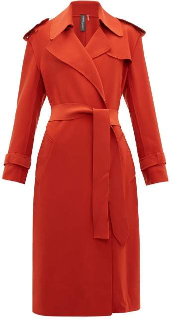 Norma Kamali Belted Cady Trench Coat - Womens - Red