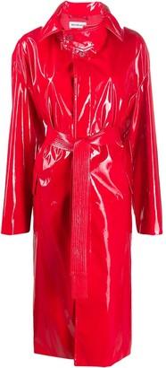 Balenciaga Vinyl Effect Belted Trench Coat