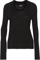Just Cavalli Pointelle-trimmed ribbed-knit cardigan