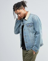Asos Slim Fit Denim Jacket With Contrast Faux Suede Collar In Blue