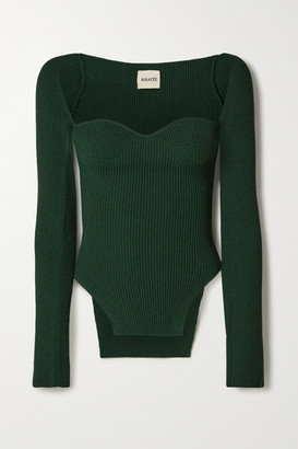KHAITE Maddy Ribbed-knit Sweater - Dark green