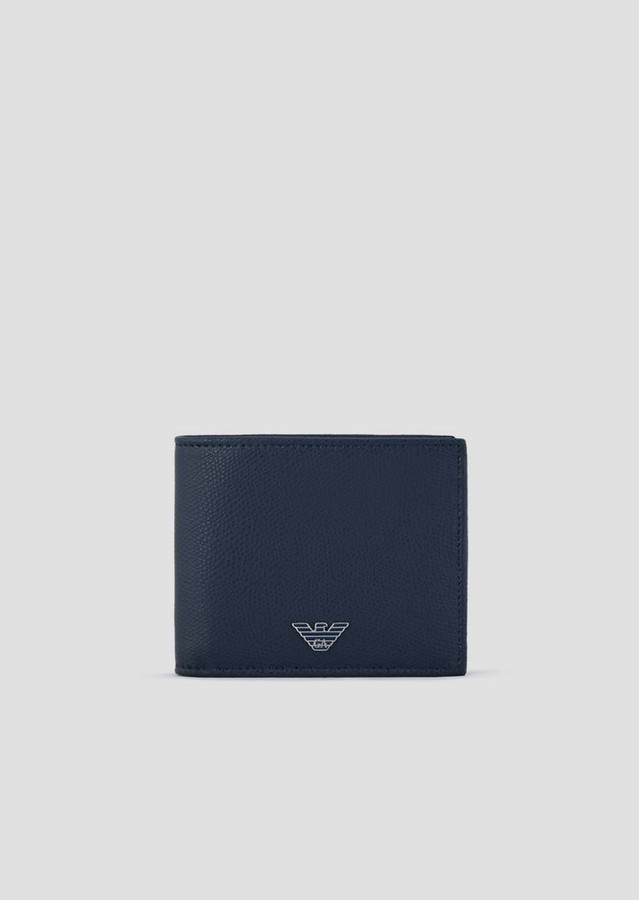 Emporio Armani Bi-Fold Wallet In Boarded Print Leather