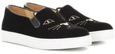 Charlotte Olympia Cool Cats velvet slip-on sneakers