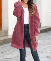 Z Avenue Women's Cardigans Burgundy - Burgundy Fuzzy Cardigan - Women & Plus