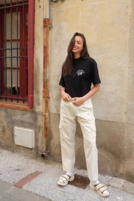 SWEET SKTBS Ecru Boyfriend Fit Trousers - White S at Urban Outfitters