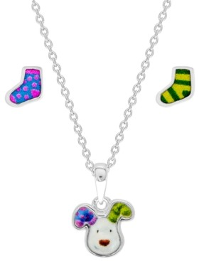 Rhona Sutton Snowman Pendant Necklace and Stocking Earring Set