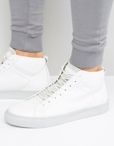 Jack & Jones Neptune Hi Top Trainers In Leather