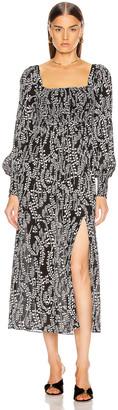 Rixo Marie Dress in Tree Roots Black & Cream | FWRD