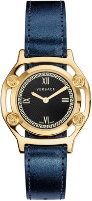 Versace Medusa Frame Watch with Leather Strap, Yellow Gold/Navy