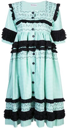 Molly Goddard Gingham Stitched Dress