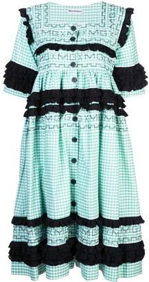 Molly Goddard gingham stitched dress