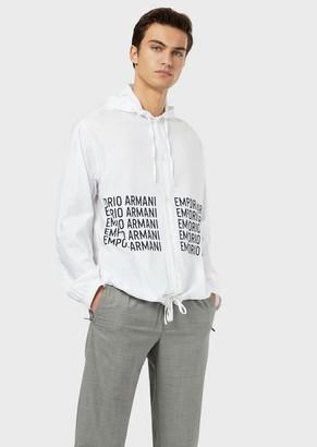 Emporio Armani Poplin Blouse With Logo Print And Hood