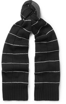McQ Striped Textured Wool And Cashmere-blend Scarf - Black