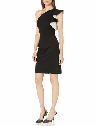 Carmen Marc Valvo Women's One Shoulder Ruffle Dress