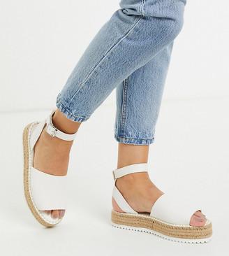 ASOS DESIGN Wide Fit Jupiter flatform espadrille sandals in white