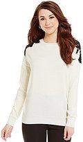 Antonio Melani Wynne Crew Neck Lace Shoulder Contrast Sweater