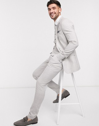 Asos DESIGN wedding super skinny suit pants in stretch cotton linen in gray check