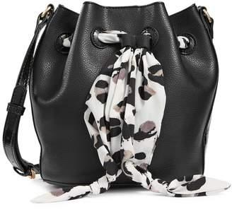 Anne Klein Mini Scarf Leather Bucket Bag