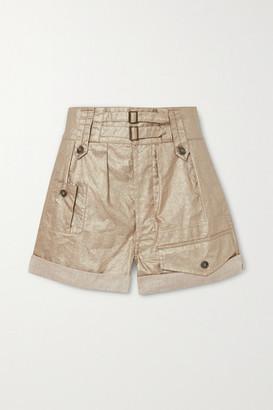 Saint Laurent Buckled Metallic Linen Shorts - Beige