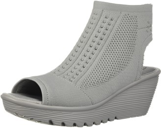 Skechers Women's Parallel-Tight Peep Toe Stretch Knit Wedge Sandal