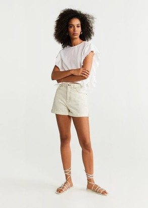 MANGO Ruffles embroidered top off white - XXS - Women