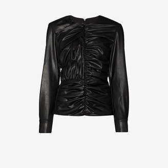 Markoo Ruched Faux Leather Blouse