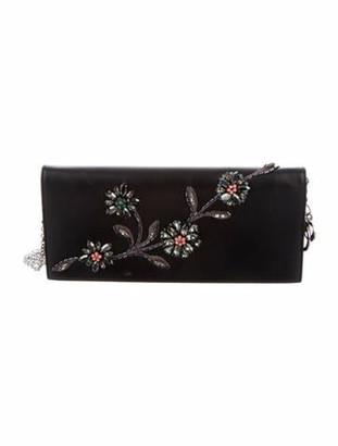 Christian Dior Floral Embellished Leather Clutch Black