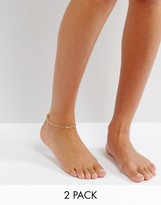 Pieces Layered Multipack Anklet