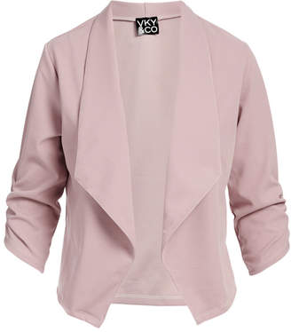 Vky & Co VKY & CO Women's Blazers MAUVE - Mauve Crepe-Knit Three Quarter-Sleeve Open-Front Blazer - Women & Plus