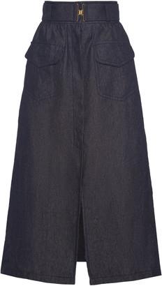 Martin Grant High-Rise Slit Linen Skirt