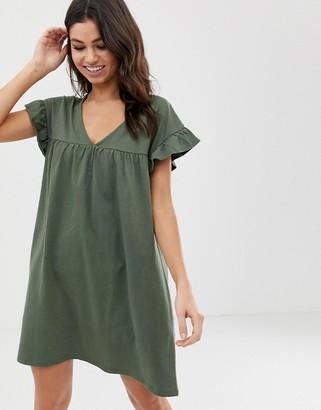 Asos Design DESIGN mini reversible cotton slub smock dress-Green
