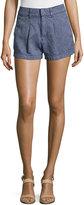 7 For All Mankind Herringbone Pleated Shorts, Indigo
