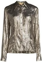 Michael Kors Crushed Metallic Silk-Blend Button-Down Shirt