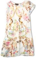 Roberto Cavalli Y71072 Y2470 Dress w/ One Ruffle Sleeve (Big Kids) (Floral) - Apparel
