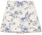 RED Valentino Wrap-effect Printed Cotton-canvas Shorts - Ivory