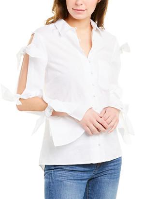 Jonathan Simkhai Tie-Sleeve Linen-Blend Oxford