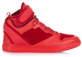 Balenciaga High-top velvet, leather and neoprene trainers