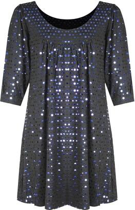 H&F Girls MALAIKA H&F Girl Womens Ladies Scoop Round Neck 3/4 Sleeve Plain Sparkling Glitter Shiny Sequins Party Night Out Clubwear Top Shirt Dress Truly Plus Size XL XXL XXXL XXXXL 14 16 18 20 22 24 26 28